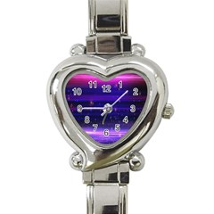 Space Planet Pink Blue Purple Heart Italian Charm Watch by Alisyart