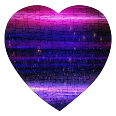 Space Planet Pink Blue Purple Jigsaw Puzzle (heart) by Alisyart