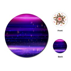 Space Planet Pink Blue Purple Playing Cards (round)  by Alisyart