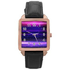 Space Planet Pink Blue Purple Rose Gold Leather Watch  by Alisyart