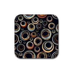Seamless Cubes Texture Circle Black Orange Red Color Rainbow Rubber Coaster (square)  by Alisyart