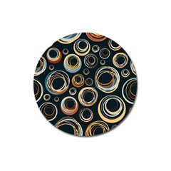 Seamless Cubes Texture Circle Black Orange Red Color Rainbow Magnet 3  (round) by Alisyart