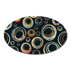Seamless Cubes Texture Circle Black Orange Red Color Rainbow Oval Magnet by Alisyart