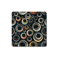 Seamless Cubes Texture Circle Black Orange Red Color Rainbow Square Magnet by Alisyart