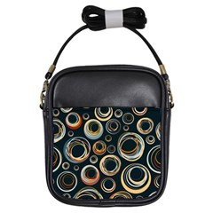 Seamless Cubes Texture Circle Black Orange Red Color Rainbow Girls Sling Bags