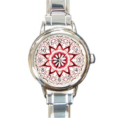 Prismatic Flower Floral Star Gold Red Orange Round Italian Charm Watch by Alisyart