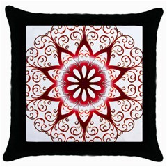 Prismatic Flower Floral Star Gold Red Orange Throw Pillow Case (black) by Alisyart