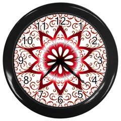 Prismatic Flower Floral Star Gold Red Orange Wall Clocks (black) by Alisyart