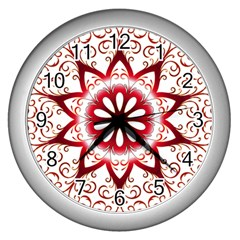 Prismatic Flower Floral Star Gold Red Orange Wall Clocks (silver)  by Alisyart