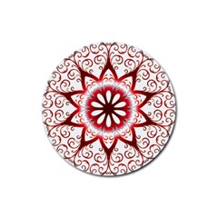 Prismatic Flower Floral Star Gold Red Orange Rubber Coaster (round)  by Alisyart