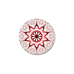 Prismatic Flower Floral Star Gold Red Orange Golf Ball Marker by Alisyart