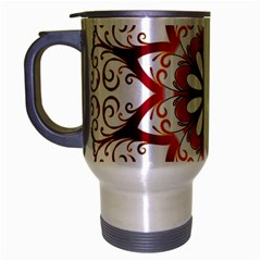 Prismatic Flower Floral Star Gold Red Orange Travel Mug (silver Gray) by Alisyart