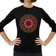 Prismatic Flower Floral Star Gold Red Orange Women s Long Sleeve Dark T-shirts by Alisyart