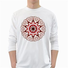 Prismatic Flower Floral Star Gold Red Orange White Long Sleeve T Shirts by Alisyart