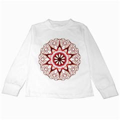 Prismatic Flower Floral Star Gold Red Orange Kids Long Sleeve T Shirts by Alisyart