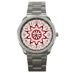 Prismatic Flower Floral Star Gold Red Orange Sport Metal Watch by Alisyart