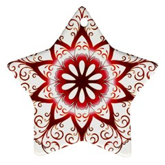 Prismatic Flower Floral Star Gold Red Orange Star Ornament (two Sides) by Alisyart