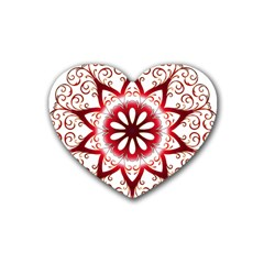 Prismatic Flower Floral Star Gold Red Orange Rubber Coaster (heart)  by Alisyart