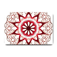 Prismatic Flower Floral Star Gold Red Orange Small Doormat  by Alisyart