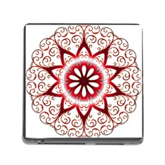 Prismatic Flower Floral Star Gold Red Orange Memory Card Reader (square) by Alisyart