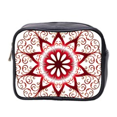 Prismatic Flower Floral Star Gold Red Orange Mini Toiletries Bag 2 Side by Alisyart