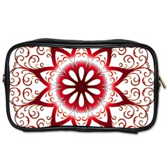 Prismatic Flower Floral Star Gold Red Orange Toiletries Bags 2 Side
