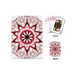 Prismatic Flower Floral Star Gold Red Orange Playing Cards (mini)  by Alisyart