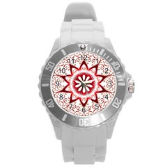 Prismatic Flower Floral Star Gold Red Orange Round Plastic Sport Watch (l) by Alisyart