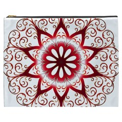 Prismatic Flower Floral Star Gold Red Orange Cosmetic Bag (xxxl)