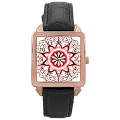Prismatic Flower Floral Star Gold Red Orange Rose Gold Leather Watch  by Alisyart