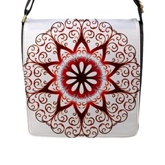 Prismatic Flower Floral Star Gold Red Orange Flap Messenger Bag (l)  by Alisyart