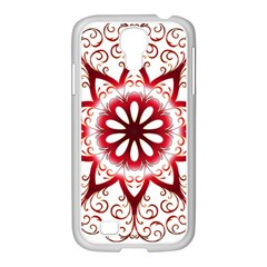 Prismatic Flower Floral Star Gold Red Orange Samsung Galaxy S4 I9500/ I9505 Case (white)