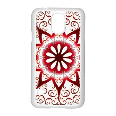 Prismatic Flower Floral Star Gold Red Orange Samsung Galaxy S5 Case (white)