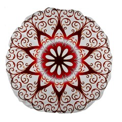 Prismatic Flower Floral Star Gold Red Orange Large 18  Premium Flano Round Cushions by Alisyart