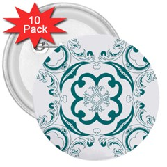 Vintage Floral Star Flower Blue 3  Buttons (10 Pack)  by Alisyart