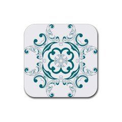 Vintage Floral Star Flower Blue Rubber Square Coaster (4 Pack)  by Alisyart