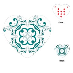 Vintage Floral Star Flower Blue Playing Cards (heart)  by Alisyart