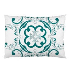 Vintage Floral Star Flower Blue Pillow Case by Alisyart