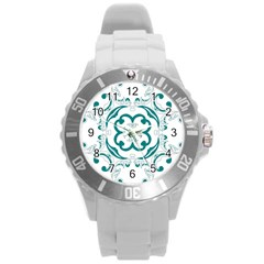 Vintage Floral Star Flower Blue Round Plastic Sport Watch (l)