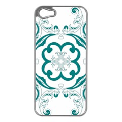 Vintage Floral Star Flower Blue Apple Iphone 5 Case (silver) by Alisyart