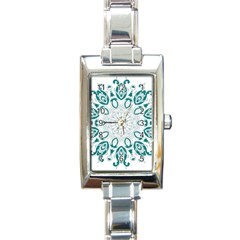 Vintage Floral Star Blue Green Rectangle Italian Charm Watch by Alisyart