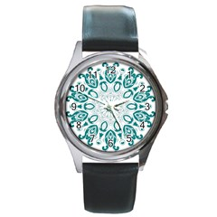 Vintage Floral Star Blue Green Round Metal Watch by Alisyart