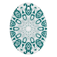 Vintage Floral Star Blue Green Ornament (oval) by Alisyart