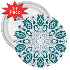 Vintage Floral Star Blue Green 3  Buttons (10 Pack)  by Alisyart