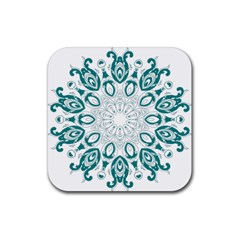 Vintage Floral Star Blue Green Rubber Square Coaster (4 Pack)  by Alisyart