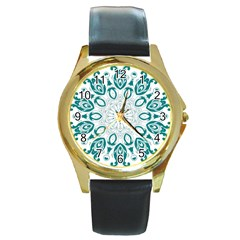 Vintage Floral Star Blue Green Round Gold Metal Watch by Alisyart