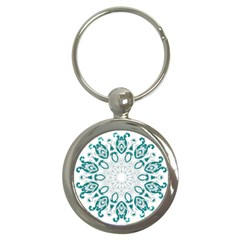 Vintage Floral Star Blue Green Key Chains (round)  by Alisyart