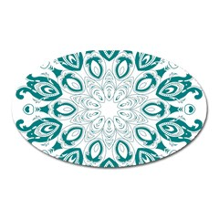 Vintage Floral Star Blue Green Oval Magnet by Alisyart
