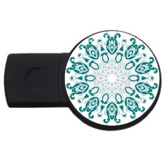 Vintage Floral Star Blue Green Usb Flash Drive Round (4 Gb) by Alisyart