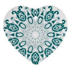 Vintage Floral Star Blue Green Heart Ornament (two Sides) by Alisyart